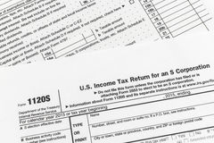 Μικρή επιστροφή φόρου εισοδήματος εταιριών εντύπου 1120S IRS Στοκ εικόνες με δικαίωμα ελεύθερης χρήσης