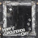 Μικρή ημέρα Groundhog πινάκων κιμωλίας Στοκ εικόνες με δικαίωμα ελεύθερης χρήσης