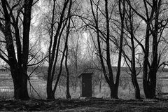 Μικρή καλύβα μεταξύ των δέντρων στοκ εικόνες με δικαίωμα ελεύθερης χρήσης