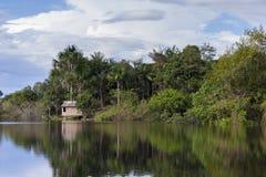 Μικρή καλύβα στον ποταμό του Αμαζονίου Στοκ Φωτογραφίες