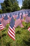 Μικρή κινηματογράφηση σε πρώτο πλάνο αμερικανικών σημαιών στοκ εικόνες