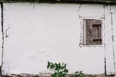 Μικρή ξύλινη πόρτα σε έναν άσπρο τοίχο μπάρμαν ραγισμένος Η πόρτα στο θόριο στοκ εικόνες