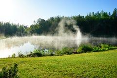 Μικρή ομίχλη λιμνών και πρωινού Στοκ εικόνες με δικαίωμα ελεύθερης χρήσης