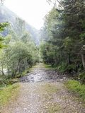 Μικρή πορεία ή οδοιπορία των περιπάτων Pla de Boavi  Καταλανικά Πυρηναία r στοκ εικόνες