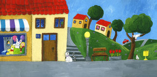 μικρή πόλη οδών Στοκ εικόνα με δικαίωμα ελεύθερης χρήσης