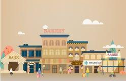 Μικρή πόλη με τη μικρή και μέση επιχείρηση. Στοκ Φωτογραφίες