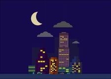 Μικρή πόλη νύχτας Στοκ εικόνα με δικαίωμα ελεύθερης χρήσης