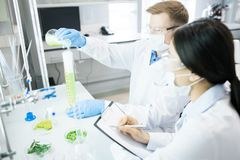 Μικροβιολόγοι που πραγματοποιούν το πείραμα με το πράσινο φυτικό δείγμα στοκ εικόνα