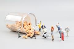 Μικροσκοπικά καρύδια μεταλλείας παιχνιδιών με το μπουκάλι Στοκ Φωτογραφίες