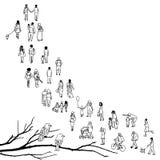 Μικροσκοπική αναμονή ανθρώπων διανυσματική απεικόνιση