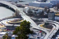 Μικροσκοπική προοπτική των οδικών έργων του Μπέργκεν Στοκ Φωτογραφία