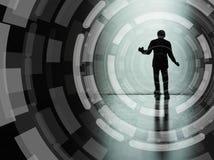 Μικροσκοπική σκιαγραφία, επιχείρηση και τεχνολογία επιχειρηματιών concep στοκ εικόνες