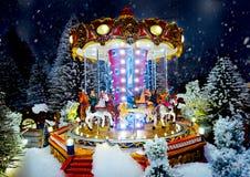 Μικροσκοπική του χωριού σκηνή Χριστουγέννων Παιχνίδια διακοσμήσεων Χριστουγέννων Στοκ εικόνα με δικαίωμα ελεύθερης χρήσης