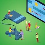 Μικροσκοπικοί άνθρωποι που παίζουν τα τηλεοπτικά παιχνίδια στην κονσόλα Τεχνολογία τυχερού παιχνιδιού Isometric απεικόνιση Στοκ Εικόνες