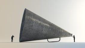 Μικροσκοπικοί άνθρωποι που χρησιμοποιούν εκλεκτής ποιότητας megaphone Στοκ Εικόνες