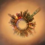 Μικροσκοπικός γήινος πλανήτης με τα πολύ σημαντικά κτήρια και έλξη στο Χονγκ Κονγκ Στοκ Εικόνα
