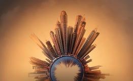 Μικροσκοπικός γήινος πλανήτης με τα πολύ σημαντικά κτήρια και έλξη στο Ντουμπάι Στοκ Φωτογραφίες