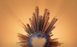 Μικροσκοπικός γήινος πλανήτης με τα πολύ σημαντικά κτήρια και έλξη στο Ντουμπάι Στοκ Φωτογραφία
