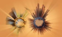 Μικροσκοπικός γήινος πλανήτης με τα πολύ σημαντικά κτήρια και την έλξη της πόλης Στοκ φωτογραφία με δικαίωμα ελεύθερης χρήσης