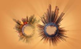 Μικροσκοπικός γήινος πλανήτης με τα πολύ σημαντικά κτήρια και την έλξη της πόλης Στοκ Εικόνα
