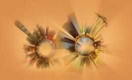 Μικροσκοπικός γήινος πλανήτης με τα πολύ σημαντικά κτήρια και την έλξη της πόλης Στοκ Εικόνες