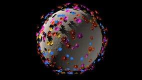 Μικροσκοπικός τρισδιάστατος πλανήτης των μικρών λουλουδιών χρώματος διανυσματική απεικόνιση