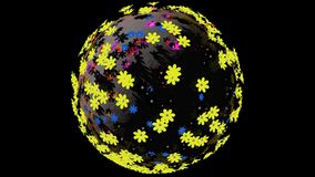 Μικροσκοπικός τρισδιάστατος πλανήτης των μικρών λουλουδιών χρώματος απεικόνιση αποθεμάτων