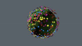 Μικροσκοπικός τρισδιάστατος πλανήτης των μικρών λουλουδιών χρώματος ελεύθερη απεικόνιση δικαιώματος
