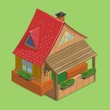 Μικροσκοπικό εξοχικό σπίτι με την κόκκινη στέγη Διανυσματική απεικόνιση