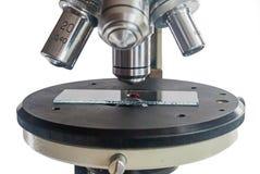 Μικροσκόπιο με το δείγμα αίματος Στοκ εικόνα με δικαίωμα ελεύθερης χρήσης