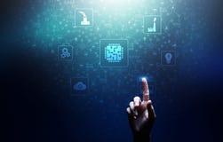 Μικροτσίπ, τεχνητή νοημοσύνη, αυτοματοποίηση και Διαδίκτυο των πραγμάτων IOT, ψηφιακή ολοκλήρωση διανυσματική απεικόνιση