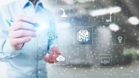 Μικροτσίπ, τεχνητή νοημοσύνη, αυτοματοποίηση και Διαδίκτυο των πραγμάτων, IOT, ψηφιακή ολοκλήρωση στοκ εικόνες