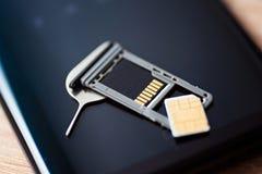 Μικροϋπολογιστής sim και δίσκος μικροϋπολογιστών SD καρτών μνήμης Στοκ Φωτογραφίες