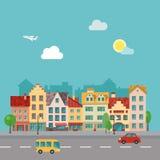 Μικρού χωριού αστικό τοπίο στο επίπεδο ύφος σχεδίου Απεικόνιση μιας οδού, που γίνεται μέσα Στοκ Εικόνα