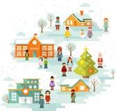 Μικρού χωριού αστικό χειμερινό τοπίο Χριστουγέννων Στοκ φωτογραφία με δικαίωμα ελεύθερης χρήσης