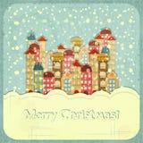 Μικρού χωριού και χιόνι απεικόνιση αποθεμάτων