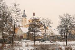μικρού χωριού χειμώνας Στοκ Εικόνες