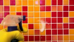 Μικροδουλειές σπιτιών - σκουπίζοντας τοίχος λουτρών με τον καθαρισμό του υφάσματος και spr απόθεμα βίντεο