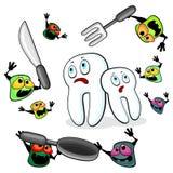 Μικρόβια που επιτίθενται στα δόντια Στοκ Εικόνες