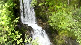 Μικρός καταρράκτης ποταμών που τρέχει στο πράσινο δάσος απότομων βράχων βουνών δέντρων στη ζάλη 4k του σταθερού άγριου πυροβολισμ απόθεμα βίντεο