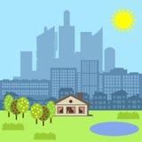 Μικρός κατοικήστε στη μεγάλη πόλη ελεύθερη απεικόνιση δικαιώματος