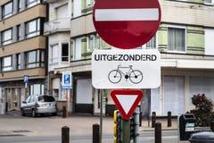Μικρός κύριος δρόμος οδικών σημαδιών, προτεραιότητα κυκλοφορίας, Φλαμανδική περιοχή, Βέλγιο Στοκ φωτογραφία με δικαίωμα ελεύθερης χρήσης