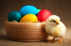 Μικρός νεοσσός με τα αυγά Πάσχας. απομονωμένος Στοκ φωτογραφία με δικαίωμα ελεύθερης χρήσης
