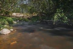 Μικρός ποταμός με τα ρεύματα ποταμού και τις μεγάλες πέτρες στοκ εικόνες