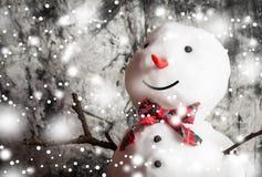 Μικρός χιονάνθρωπος στο ξύλινο γραφείο Στοκ φωτογραφία με δικαίωμα ελεύθερης χρήσης