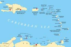 Μικρότερος πολιτικός χάρτης των Αντιλλών διανυσματική απεικόνιση