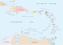 Μικρότερος χάρτης των Αντιλλών διανυσματική απεικόνιση