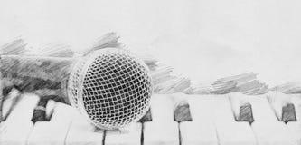 Μικρόφωνο και πιάνο Σκίτσο με το μολύβι Στοκ φωτογραφίες με δικαίωμα ελεύθερης χρήσης