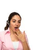 μικρόφωνο κοριτσιών που συγκλονίζεται έκπληκτο Στοκ Φωτογραφίες