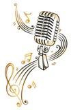 Μικρόφωνο, μουσική Στοκ Εικόνες